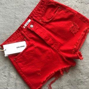 NWT GRLFRND Cindy High-Rise Denim Shorts Red Sz 26